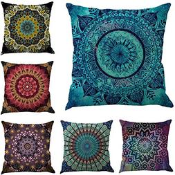 "BIBITIME 18""x18"" Set of 6 Ethnic Bohemian Decorative Colorfu"