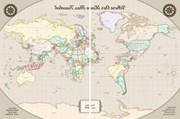 Executive World Map Cork Board - Personalized Map on 2 Panel