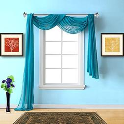 Warm Home Designs Extra Long Blue Teal Sheer Window Scarf. A