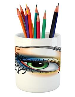 Ambesonne Eye Pencil Pen Holder, Fantasy Woman's Eye Make Up