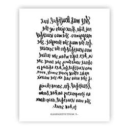 She Was Beautiful F. Scott Fitzgerald Print Art | Love Quote