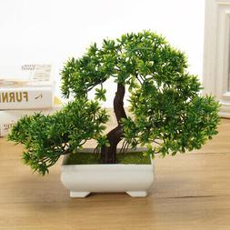 Fake Artificial Green Plant Bonsai Potted Simulation Pine Tr