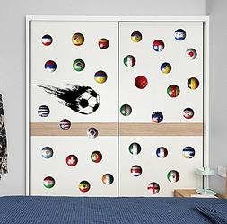 BIBITIME Sport Fans Speed Soccer Ball Wall Decal World Cup T