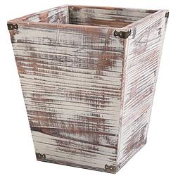 Farmhouse Style Torched Wood Square Wastebasket Bin with Dec