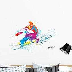 Wallmonkeys Figure of a Young Man Snowboarding Wall Decal Pe