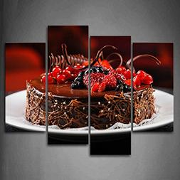 First Wall Art - Brown Cake With Black And Red Fruit Wall Ar