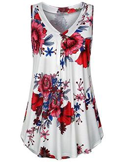 Cestyle Floral Tops for Women,Juniors Summer V Neck Buttons