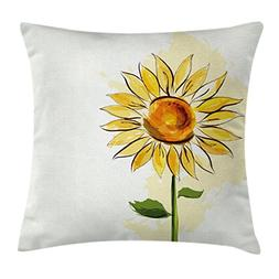 Ambesonne Flower Throw Pillow Cushion Cover by, Summer Sunfl