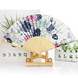 vvljproducts Beautiful Folding Bamboo Hand Fan With Wooden B
