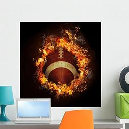 Wallmonkeys Football in Hot Fire Flames Wall Decal Peel and
