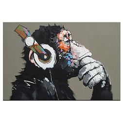 DVQ Art-Framed Animal Music Gorilla Canvas Printed Painting