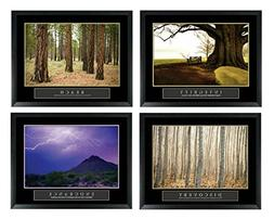 Set of 4 Framed Motivational Posters Bundle Landscape Integr