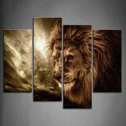 Framed Wall Art Home Office Decor Lion Painting Print On Can
