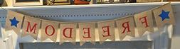 Freedom Burlap Patriotic Banner Bunting - 4th of July Party