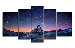 Fresh Look Color 5 Piece Wall Art Painting Starry Night Sky
