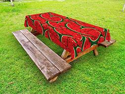 Ambesonne Fruits Outdoor Tablecloth, Refreshing Watermelon S