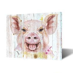 Kreative Arts Funny Animal Painting Pink Piggy Canvas Prints