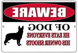 Rogue River Tactical Funny Beware of Dog Metal Tin Sign Wall