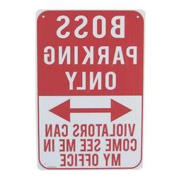 Funny Metal Boss Parking Only Wall Sign Man Cave Garage Offi