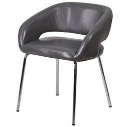 Flash Furniture Fusion Series Contemporary Gray Leather Side