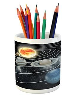 Ambesonne Galaxy Pencil Pen Holder, Solar System All Eight P