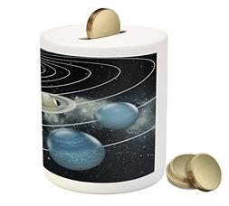 Ambesonne Galaxy Piggy Bank, Solar System All Eight Planets