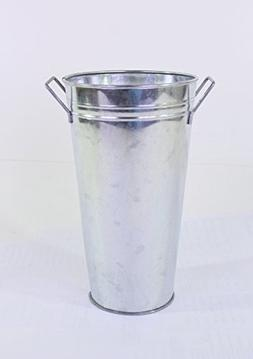 Hosley Set of 3 Galvanized French Bucket/Vase with Handles-