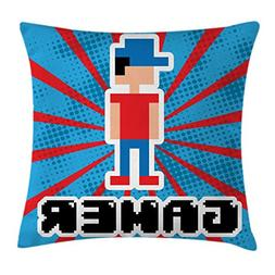 Ambesonne Video Games Throw Pillow Cushion Cover, Blue and R