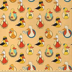Ambesonne Geese Decor Fabric by The Yard, Colorful Pattern w