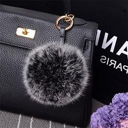TEKIMBE Genuine Fox Fur Keychain Pom Pom Soft Ball Toy Key H