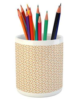 Ambesonne Geometric Pencil Pen Holder, Six Pointed Stars Pat