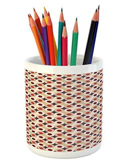 Ambesonne Geometric Pencil Pen Holder, Abstract Disc Shaped