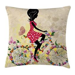 Ambesonne Girls Decor Throw Pillow Cushion Cover, A Girl on