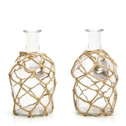 Hosley Set of 2 Glass Floral Rose Vases, Rope Wrapped, Coast