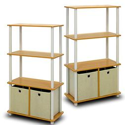 Furinno Go Green 4-Tier Storage Rack Shelving Unit with Bins
