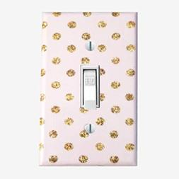 Gold dots light switch cover Girls pink gold bedroom decor