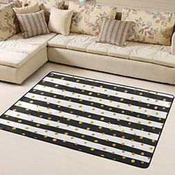 ALAZA Gold Dots White And Black Stripes Area Rugs Play Nurse