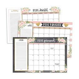 Gold Pink Chalk 2019-2020 Large Monthly Desk or Wall Calenda