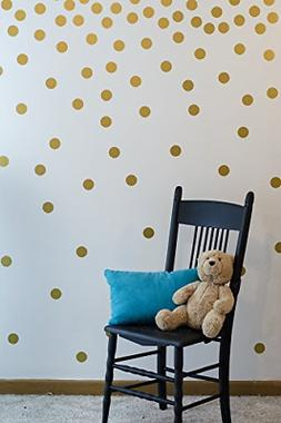 Gold Wall Decal Dots 200 Decals | Easy to Peel Easy to Stick