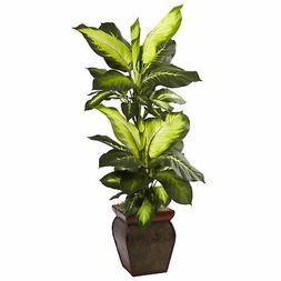 Nearly Natural Golden Dieffenbachia w/Decorative Planter