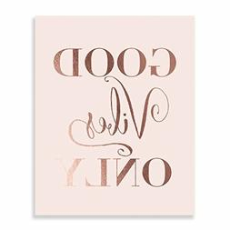 Good Vibes Only Rose Gold Foil Decor Pink Wall Art Print Ins