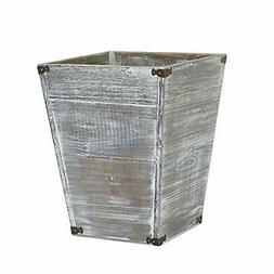 Gray Farmhouse Style Torched Wood Square Waste Bin with Deco