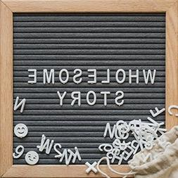 Gray Felt Letter Board - 10x10 Wooden Oak Frame with Wall Mo