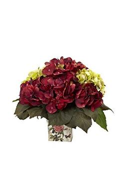 Nearly Natural Green and Burgundy Hydrangea Arrangement by N