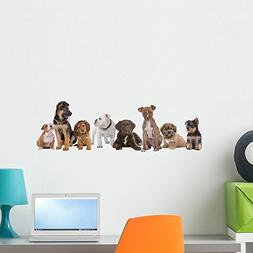 Wallmonkeys Large Group of Puppies Wall Decal Peel and Stick