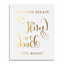 Guest Book Gold Foil Sign Wedding Reception Party Signage Ar