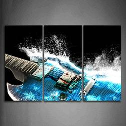 Guitar In Blue And Waves Looks Beautiful Wall Art Painting T