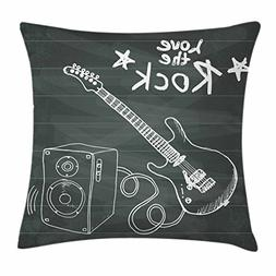 Ambesonne Guitar Throw Pillow Cushion Cover, Love The Rock M