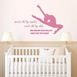 N.SunForest Gymnastics Girls Room Wall Decal Pink Fuchsia St