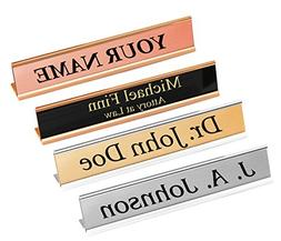"""1"""" H x 6"""" W, Custom Metal Name Plate with Desk Holder, Perso"""